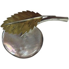 Fabrice Paris large mother of pearl fruit and leaf pin