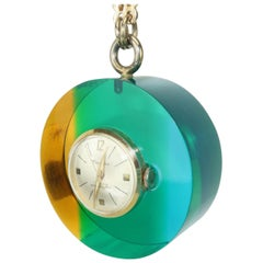 Mod 1960's Vendome Lucite Acrylic Pendant Watch