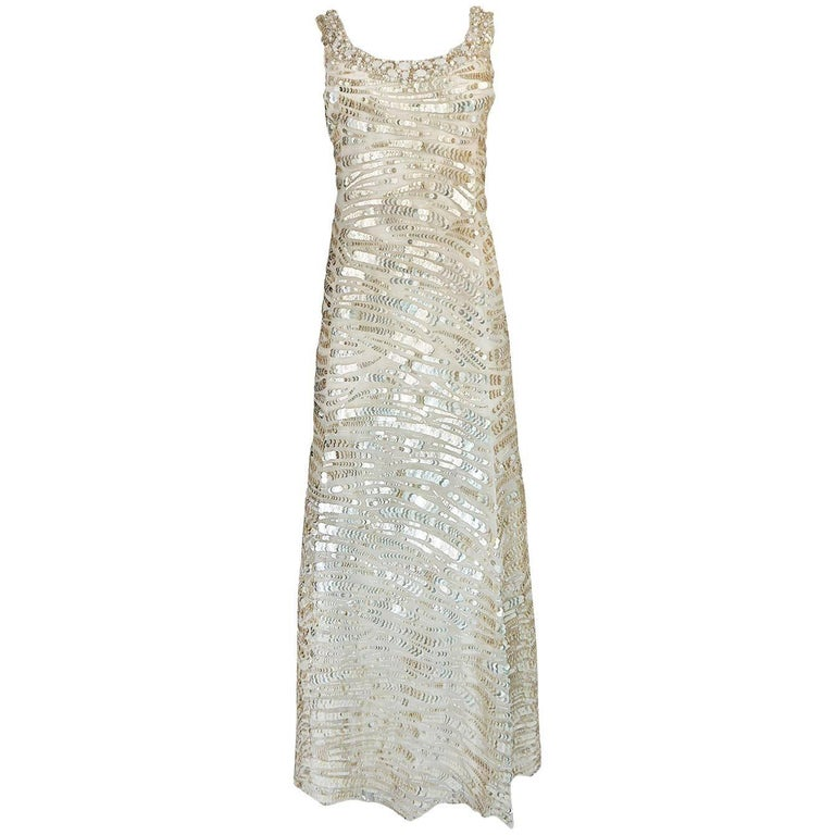 1990s Oscar de la Renta Gold Sequin & Beadwork Dress on Silk Net