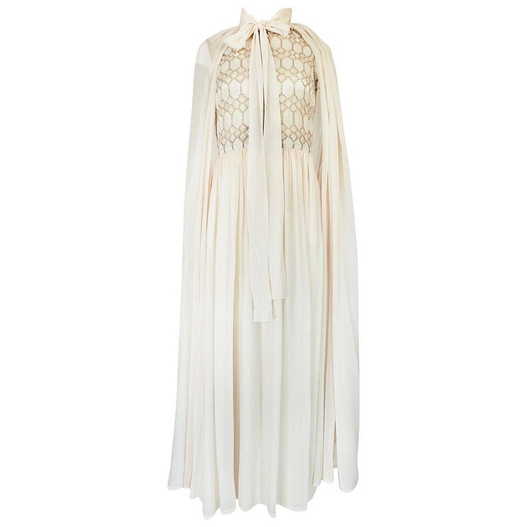 1960s Pierre Balmain Haute Couture Ivory Beaded Dress w Detachable Cape