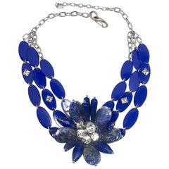 Vintage 80s-90s Signed YSL Robert Goosens Paris Lapis Floral Necklace
