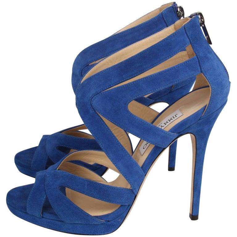 477b42b1b4 Jimmy Choo Peep Toe Suede Pumps - blue For Sale at 1stdibs