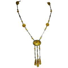 Vintage Art Deco Czech Molded Glass & Foil Cabochon  Necklace