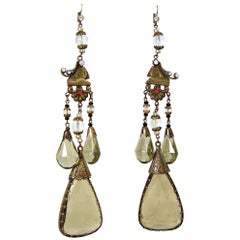 "Rare 6"" Vintage Art Deco Czech Egyptian Revival Sphinx Earrings"