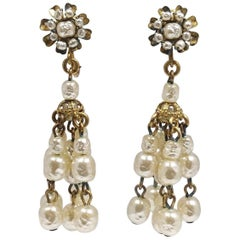 Vintage Signed Miriam Haskell Baroque Faux Pearl Drop Earrings