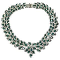 Vintage 1960s Signed Les Bernard Green & Clear Crystal Necklace