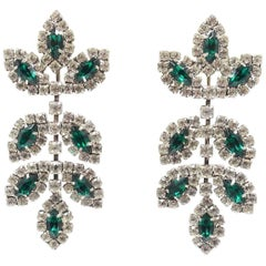 Signed Kenneth Lane Green & Clear Crystal Earrings