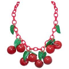 FAMOUS Art Deco 1930s Bakelite Cherries Necklace