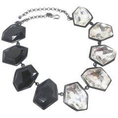 """Signed Kenneth Jay Lane Black & Clear """"Headlight"""" Necklace"""