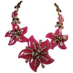 Oscar de la Renta Hot Pink Floral Necklace