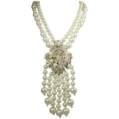 Magnificent Vintage Faux Pearl Drop Necklace