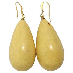 Kenneth Jay Lane Yellow Teardrop Pierced Earrings