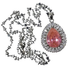 Gorgeous Large Pink & Clear Crystals Pendant Star-Studded Link Necklace