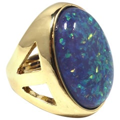 Large Signed Kenneth Jay Lane Faux Fire Opal Ring