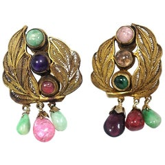 "Vintage ""Good Luck"" All Original Multi-Gemstone Drop Earrings"