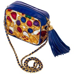 1990s Chanel Silk Gripoix Jewel Print Blue Leather Tassel Chain Crossbody Bag