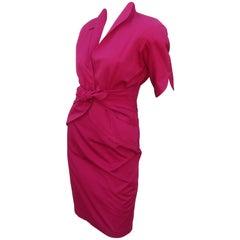 Thierry Mugler Magenta Cotton Two Piece Dress
