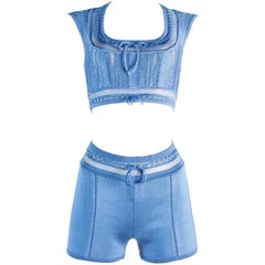 Azzedine Alaia blue acetate knitted high waisted shorts and bra top, ss 1993