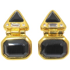 Signed Kenneth Jay Lane Black & Clear Rhinestone Earrings