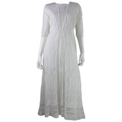 1910's Embroidered White Net Tea Dress