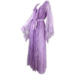 1980's Bob Mackie for Glydons Lilac Lace Peignoir Set
