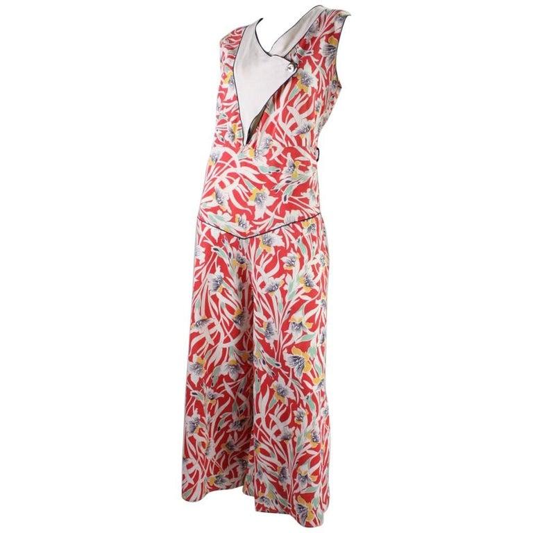 1930's Cotton Beach Pajamas with Art Deco Floral Print For Sale