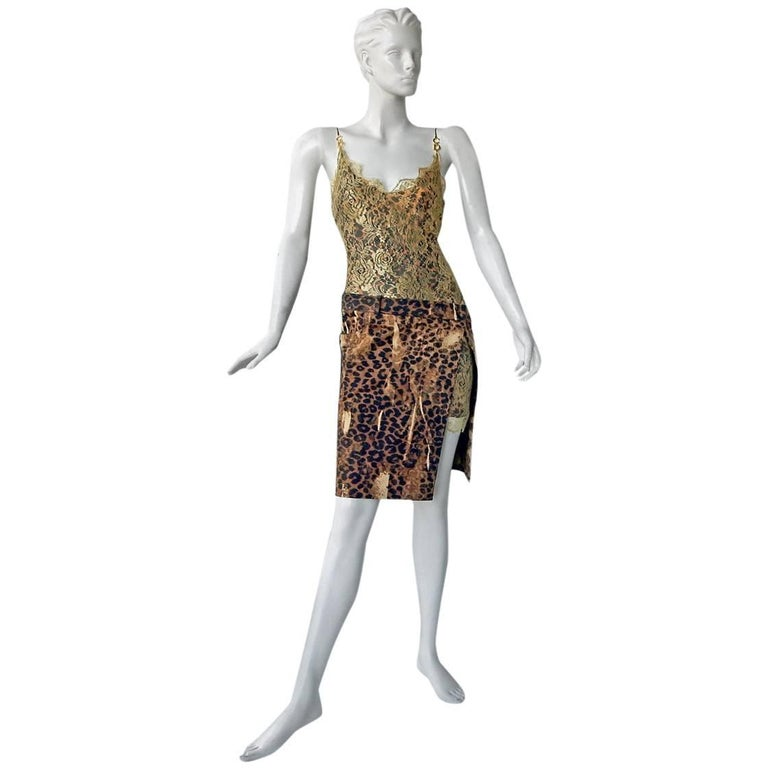 Christian Dior by Galliano Leopard and Lace Day to Evening Dress  For Sale