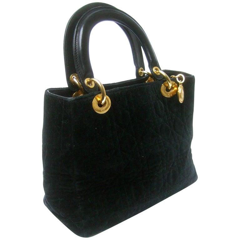 Christian Dior Black Quilted Velvet Cannage Handbag circa 1990s