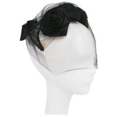 1950s Black Rose Cocktail Hat w/ Veil