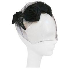 1950s Black Rose Cocktail Hat w/ Veil