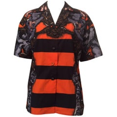 Prada Short Sleeved Oversized Buttondown Orange Black Monkey Shirt Sz38 (Us2)