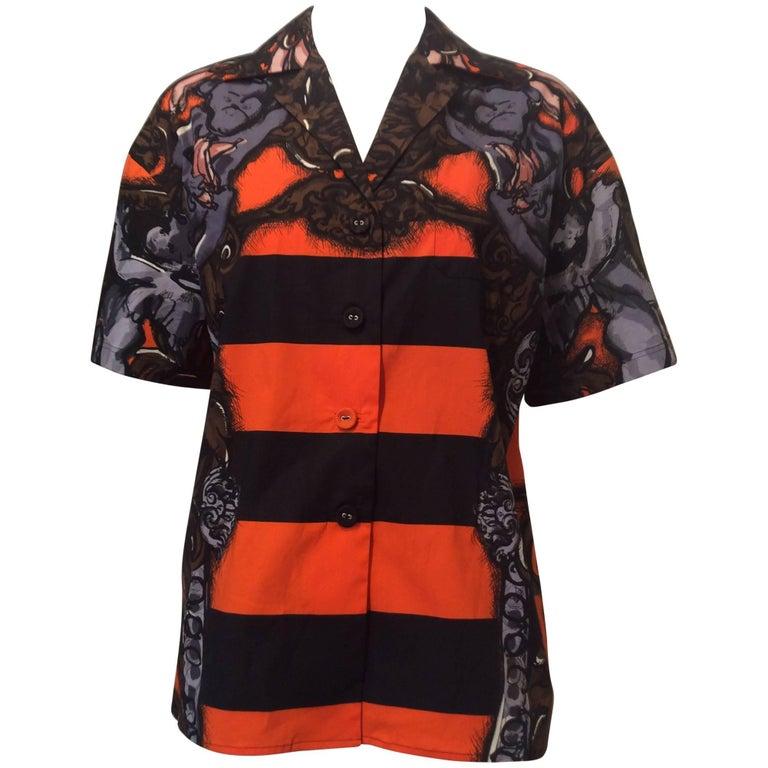 Prada Short Sleeved Oversized Buttondown Orange Black Monkey Shirt Sz38 (Us2)