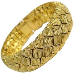 1990s Ciner Basketweave Gold Gilt Bracelet, Never Worn