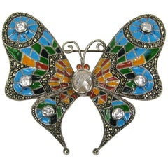 Sterling Silver Enamel Butterfly Pin Marcasite Brooch Pin