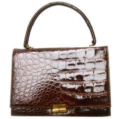 Luxurious Brown Glazed Genuine Alligator Handbag circa 1960
