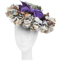 Flower Hat with Lavender Velvet Ribbon, 1940s