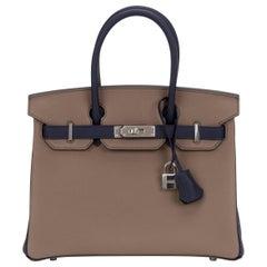 Rare New Hermes Birkin 30 Bicolor HSS Etoupe Blue Bag