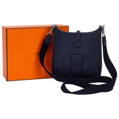 New in Box Hermes Mini Evelyne Indigo Blue
