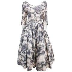 Pastoral Pastel Print Dress, 1950s