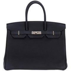 Rare Limited Edition Hermes Birkin 35 Verso Black Blue Agate Bag