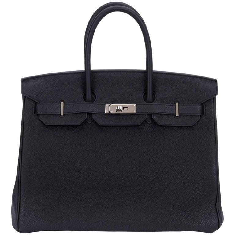 4787c35ebf65 Rare Limited Edition Hermes Birkin 35 Verso Black Blue Agate Bag For Sale
