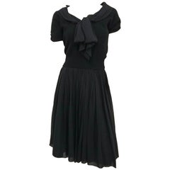 Black Knit Top and Chiffon Skirt Two Piece Set, 1950s