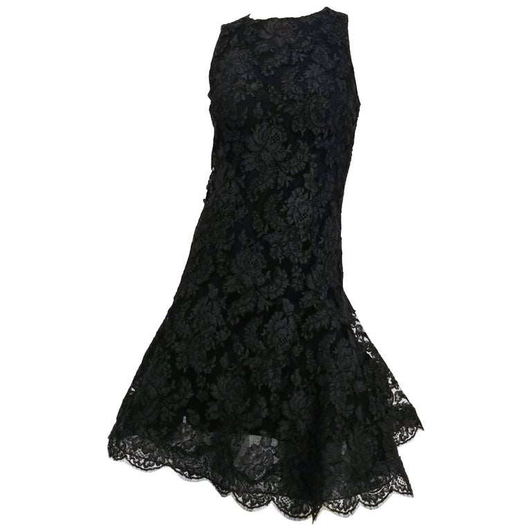 Black Lace Flared Hem Cocktail Dress, 1960s