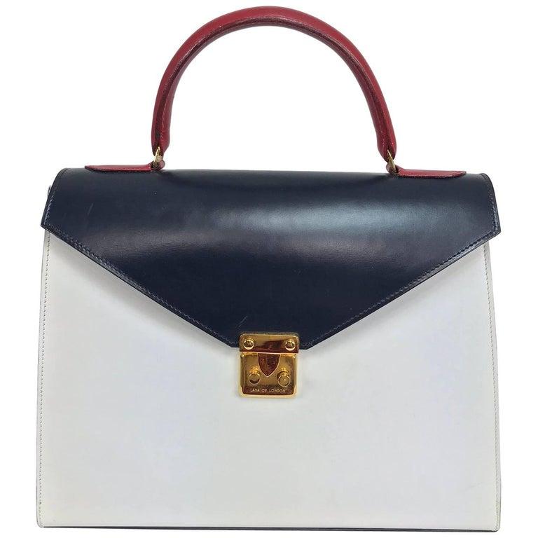 Lana of London red white and blue box calf handbag gold hardware