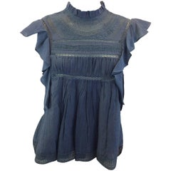 Isabel Marant Blue Cotton Lace Blouse NWT