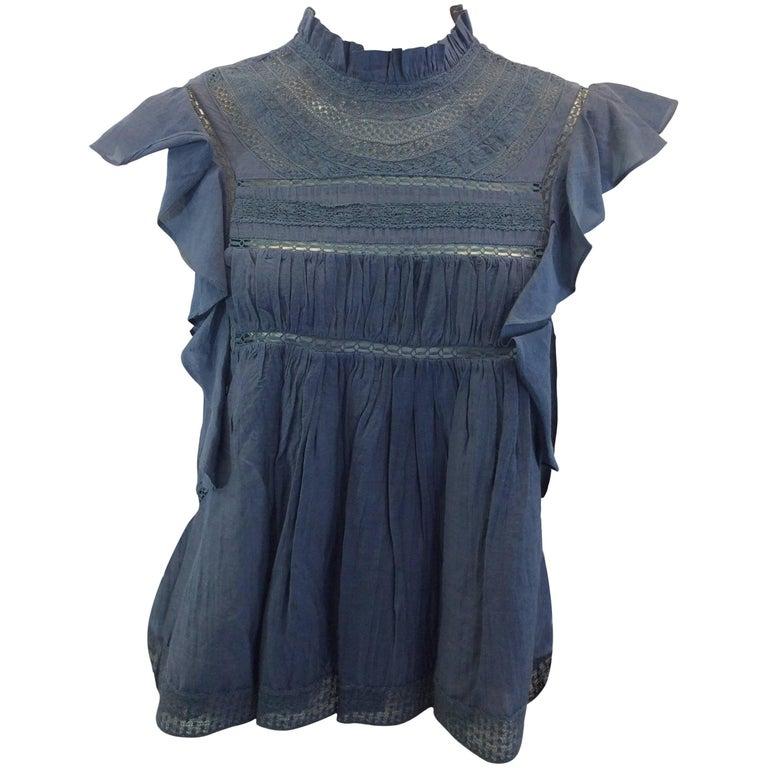 Isabel Marant Blue Cotton Lace Blouse NWT