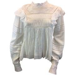 Isabel Marant White Cotton Lace Blouse NWT