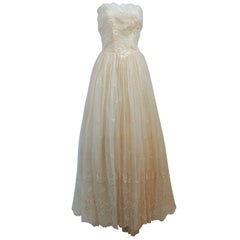 1950s Ivory Strapless Embroidered Lace Gown