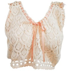 1900s Crochet Lace Cropped Camisole w/ Pink Ribbon