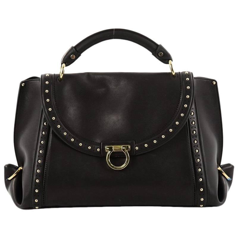 Salvatore Ferragamo Soft Sofia Satchel Studded Leather Medium 3IkISbEX